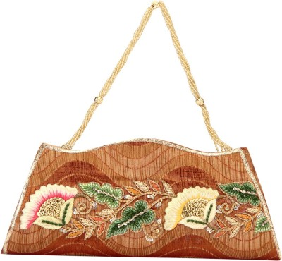 Rumani Creations Women Festive Brown  Clutch