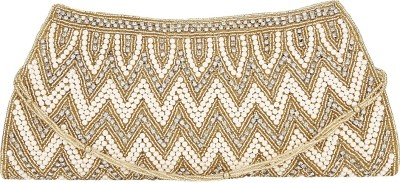 Zibal Casual, Party, Wedding White, Gold  Clutch