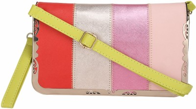 Ambience Casual Yellow, Pink, Pink, Silver  Clutch