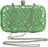Samisha Women Party Green  Clutch