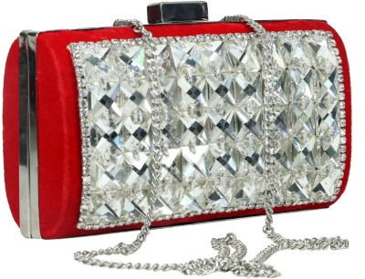 Sadaf Red, Silver  Clutch