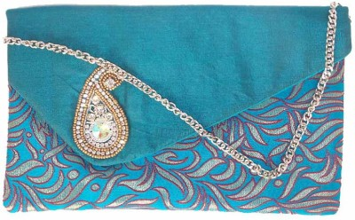 Himalaya Handicraft Women Formal Blue  Clutch