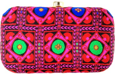Anmita Wedding, Casual, Party, Festive Pink, Multicolor  Clutch