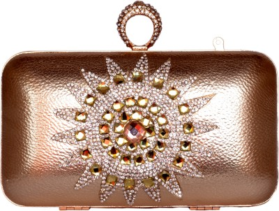 Tanishka Exports Girls Casual Red, Gold  Clutch