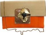 Bhamini Women Party Orange  Clutch