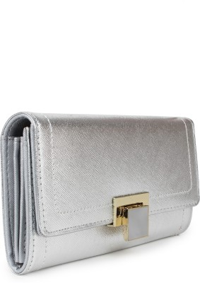 Amatra Girls, Women Silver Artificial Leather Wallet