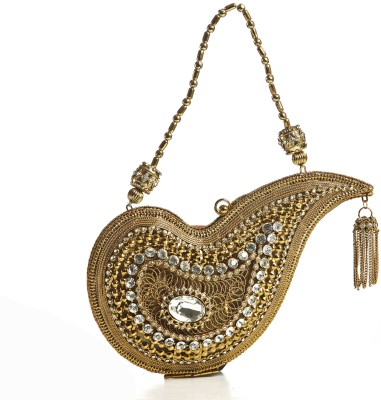 Aapno Rajasthan Women Casual Gold  Clutch