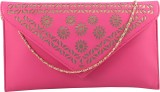 Contrast Women Party Pink, Gold  Clutch