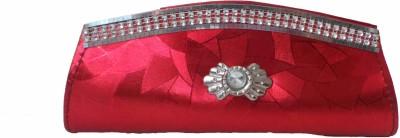 Modish Look Women Wedding Red, Silver  Clutch