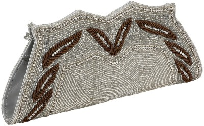 Gold Zari House Casual, Party, Festive Silver, Brown  Clutch