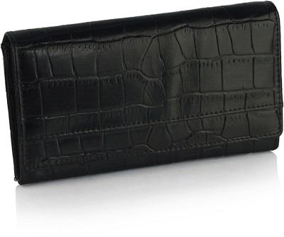 League Leather Women Casual, Party Black  Clutch
