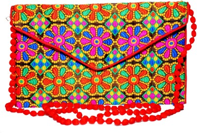 Sampoornam India Party, Wedding, Formal, Casual Red, Multicolor  Clutch