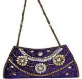 Maayas Women Party Purple  Clutch