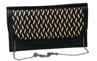 Kuero Wedding, Party, Festive Black, Gold  Clutch