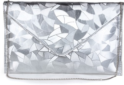 Do Bhai Women Party Grey, Silver  Clutch
