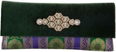 Sheela's Arts&Crafts Women Wedding Green  Clutch