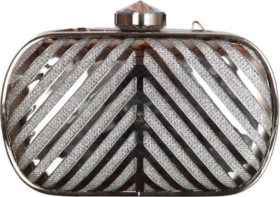 Mishe Designer Hub Women Party Silver  Clutch