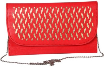 Kuero Wedding, Party, Festive Red, Gold  Clutch
