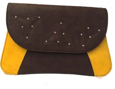 Balaji Creations Women Party Brown, Yellow  Clutch
