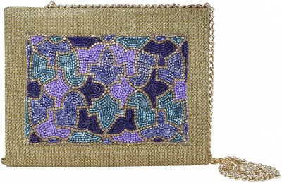 Vdesi Women Festive, Wedding Purple, Gold, Multicolor, Blue  Clutch