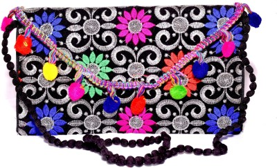 Sampoornam India Wedding, Party, Formal, Festive Black, Silver, Multicolor  Clutch