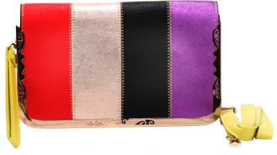 Luxury Living Casual, Party, Festive Red, Gold, Black, Purple  Clutch