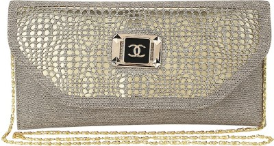 Spectrum Bags Casual, Party Grey, Gold  Clutch