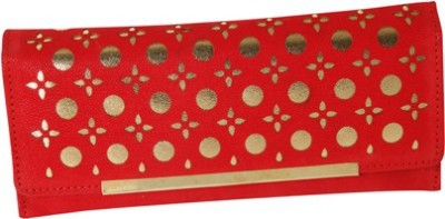 Kuero Wedding, Casual, Party, Festive Red, Gold  Clutch