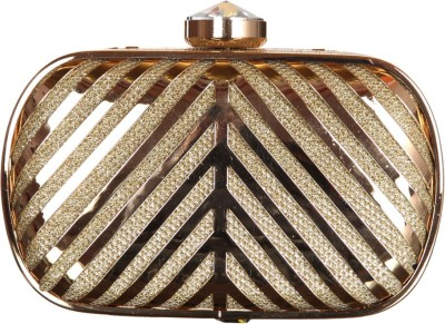 Mishe Designer Hub Women Party Gold  Clutch