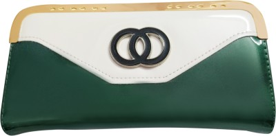 A To Z Creations Women, Girls Casual, Party Green, White  Clutch