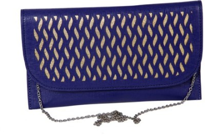 Kuero Wedding, Festive, Party Blue, Gold  Clutch