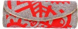 Aartisto Women Party Red, Silver  Clutch