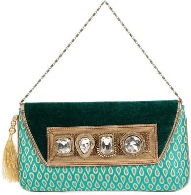 bLingz Women Party Green  Clutch