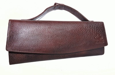 Pranjali Leather Women Party Brown  Clutch