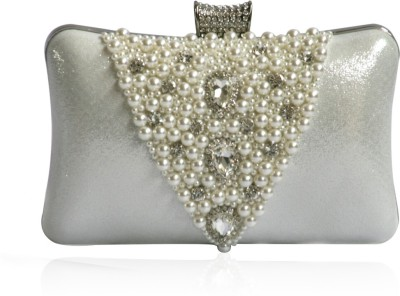 Inspired Living Women Party Silver  Clutch