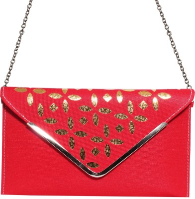 Veins Casual Red  Clutch
