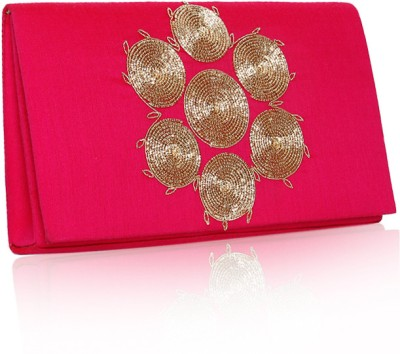 Sparkle Street Women Party Pink, Gold  Clutch