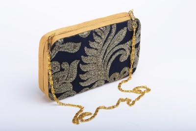Silk&Sequins Women Formal Blue, Gold  Clutch
