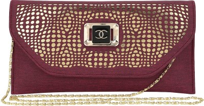 Spectrum Bags Casual, Party Maroon, Gold  Clutch