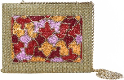 Vdesi Women Festive, Wedding Maroon, Gold, Multicolor, Red, Orange, Pink  Clutch