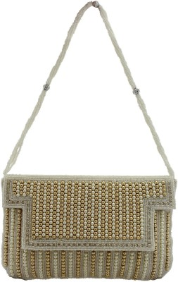 Youth Mantra Women Party Gold, White  Clutch