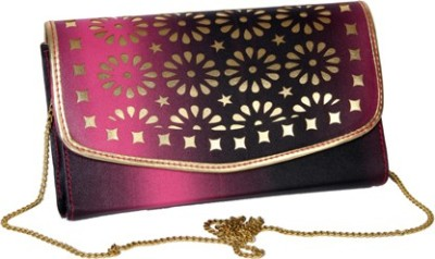 Kuero Casual, Party, Festive Pink, Gold, Black  Clutch