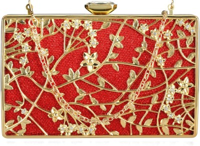 Aadi And Sons Women Festive, Casual Red, Gold  Clutch