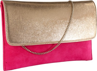 Contrast Festive, Party, Casual Pink, Gold  Clutch