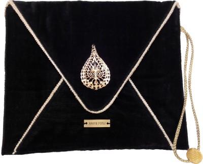 Haute Potli Women Casual, Party Black, Gold  Clutch