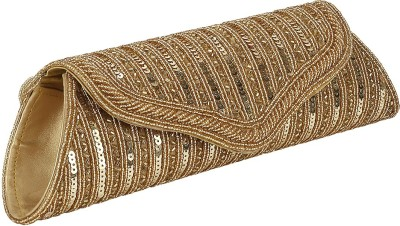 Gold Zari House Casual, Party, Festive Gold  Clutch