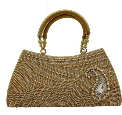 Youth Mantra Women Party Gold  Clutch