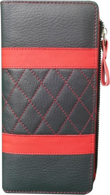 Kan Kan Black And Red Genuine Leather Travel Wallet For Women