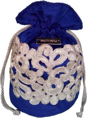 Haute Potli Women Festive, Wedding Blue, Silver  Clutch