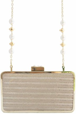 The Creative Hub Women Party Gold  Clutch